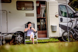 girl and camper