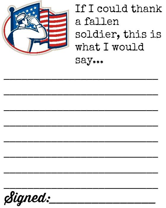 Thank a fallen soldier letter